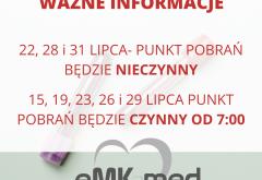 PUNKT POBRAŃ- ZMIANY W LIPCU